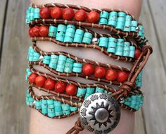 Turquoise and Coral Southwestern Native American style leather wrap bracelet, Apple coral, sterling silver, turquoise bracelet, Beaded Wrap Bracelets, Beaded Jewelry, Handmade Jewelry, Leather Wrap Bracelets, Crochet Bracelet, Native American Fashion, Native American Jewelry, Turquoise Jewelry, Turquoise Bracelet