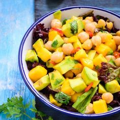 5 minutes and 5 ingredients to make this delicious, healthy and filling Mango, Avocado and Chickpea Salad.
