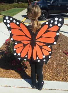 "DIY Homemade Halloween Costumes for Kids at BetterBudgeting: ""Monarch Butterfly Wings"" made with wire coat hangers and felt!"