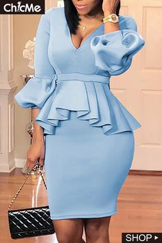 Shop Lantern Sleeve Ruffles Design Top & Skirt Sets right now get great deals at Voguelily. Mode Outfits, Chic Outfits, Dress Outfits, Fashion Outfits, Fashion Styles, Girly Outfits, Office Outfits, Office Dresses, Style Fashion
