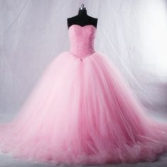 Lovely Pink Tulle Ball Gown Prom Dress, Strapless