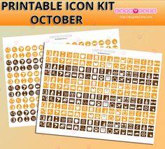 October Monthly Stickers Icon kit  September Planner Icon Kit. Erin condren life planner