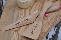Wedding cake server and knife cake server set by laceandtwig  Super cute. I can see our initials on one and our wedding date on the other.