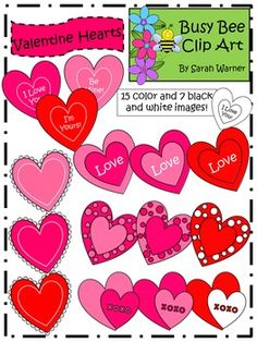All you need is love...and these fun hearts for your Valentine's Day projects.  The set includes a total of 22 graphics.  There are 15 hearts in full color as well as 7 black and white images.  These graphics may be used for personal or commercial use.