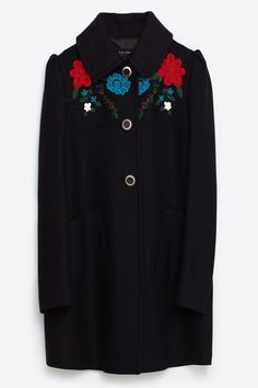 Zara Coat With an Embroidered Yoke