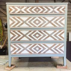 Perfect use of pattern on a sort of boring dresser. Sunbleached. Not overwhelming. Doesn't say just one style.