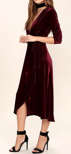 Whip out the red carpet! The Enchant Me Burgundy Velvet Midi Wrap Dress is breathtaking! This dress is so silky and smooth and will feel so good against your body. The color just screams luxurious and the fabric is a premium polyester with a bit of spandex to give you some stretch. The way this dress …