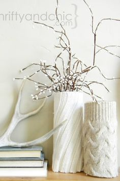 Dress up your Christmas candles with these cozy holders made from sweaters. Get the tutorial at Thrifty and Chic.