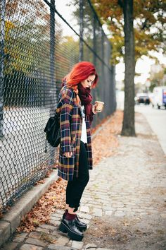 I love the idea of that tartan coat.. It makes a simple outfit more interesting and gives another look altogether..