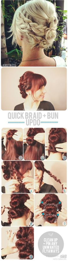 DIY Quick Braid and Bun Updo Hairstyle  