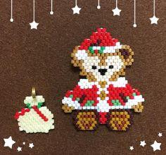 2016クリスマス Pony Bead Patterns, Beaded Jewelry Patterns, Peyote Patterns, Beading Patterns, Beaded Christmas Ornaments, Christmas Crafts, Motifs Perler, Beaded Banners, Beaded Crafts