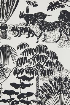 Wallpaper - Born and raised in New York, Aimee's early exposure to the inner workings of the fashion world and her fine art background inform her bold and playful . Art And Illustration, Gravure Illustration, Illustrations, Farm Wallpaper, Print Wallpaper, Motif Jungle, Jungle Print, Conversational Prints, Poster Prints