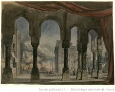 [La reine de Chypre : esquisse de décor de l'acte V, tableau 2 / Charles Cambon] - 1841