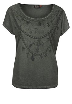 ONLY - NECKLACE SCULL - T-shirt basic - Olijf