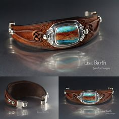 Here is a beautiful Peruvian blue opal I bezel set in fine silver, then cut and dyed a leather bracelet for it. I love the magnetic clasps, they make it so easy to put on and take off. -Lisa Barth