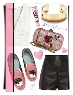 """""""Glitter and Gold"""" by thestrawberryfields ❤ liked on Polyvore featuring Chiara Ferragni, Alice + Olivia, Balenciaga, Gucci, Tiffany & Co. and Beauty Rush"""