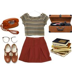 Brown by samarayared on Polyvore featuring polyvore moda style Bimba & Lola Linda Farrow Crosley Radio & Furniture