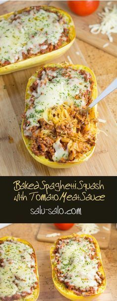 The use of spaghetti squash in this delicious baked spaghetti squash with tomato meat sauce recipe makes it the ideal low carb pasta imitation dish.