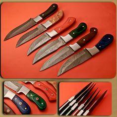 Hand Made Beautiful Damascus Hunting  knives set of 6 Knives with Natural Handles