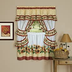 Shopping Cart Kitchen Curtains And Valances, Cottage Curtains, Kitchen Curtain Sets, Double Curtain Rod Set, Camo Bedding, Finials For Curtain Rods, Floral Comforter, Curtain Headings, Black Eyed Susan