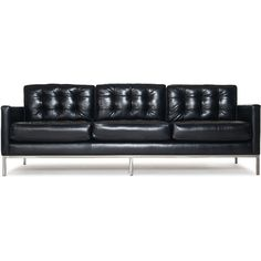 Thrive Sullivan Leather Sofa (226.460 RUB) ❤ liked on Polyvore featuring home, furniture, sofas, sofa, sewing furniture, leather couch, tufted couch, button tufted sofa and button leather sofa