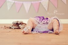 Baby at the end of the cake smash :)