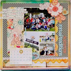 calendar and words page scrapbook
