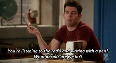 you're listening to the radio and writing in pen. what decade are we in?