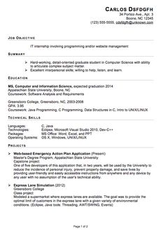 Sample Resume For Masters In Computer Science For Internships