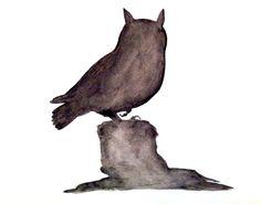 Smokey Owl Original Watercolor Painting by prettyinc on Etsy, $25.00