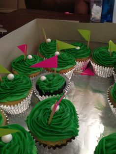 DIY Cupcakes for a golf themed party- credit goes to Cindy Lisenby - cut out colored paper and glue to toothpicks. Use sixlets for the golf balls!
