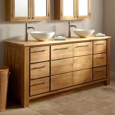 Bathroom Cabinets Rustic Wooden Vanity Washbasins Aluminum Faucet Mirror Gray Wall Paint Decoration Rattan Basket Storage Drawers Ceramic Flooring Tile Soap Dish Modern Inspiring With Bathroom Cabinets