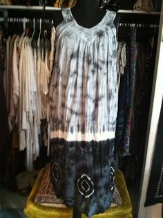 Vintage Black and White TieDye Embroidered by LonelyMoonChild, $39.99