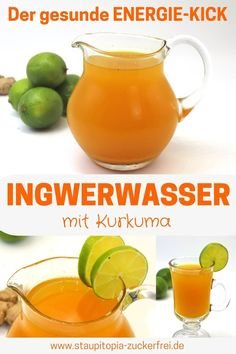 Ingwerwasser mit Kurkuma - Staupitopia Zuckerfrei This healthy ginger water with turmeric is my secret weapon during the cold period. But the mixture of ginger, lime and turmeric is not only ideal for Turmeric Detox, Turmeric Water, Ginger Detox, Turmeric Smoothie, Turmeric Recipes, Weight Loss Drinks, Weight Loss Smoothies, Healthy Weight Loss, Detox Cleanse For Weight Loss