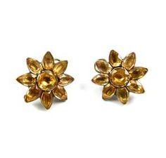 - Pair of 18th century Portuguese topaz eight petal flower cluster earrings, close set in silver