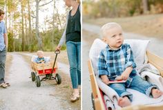 One year old family photography session on cute dirt road with red wagon.