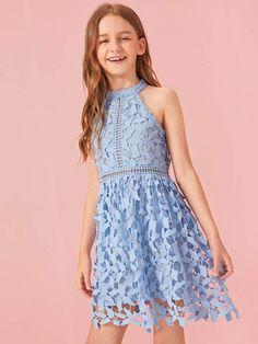 Dresses Kids Girl, Kids Outfits Girls, Cute Girl Outfits, Cute Dresses, Halter Dresses, Girls Fashion Clothes, Fashion Dresses, Kids Fashion Show, Fit And Flare