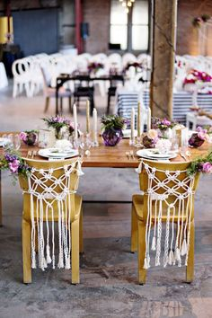 Bohemian Macrame Wedding Chair Decor / http://www.deerpearlflowers.com/boho-macrame-knotted-wedding-decor-ideas/