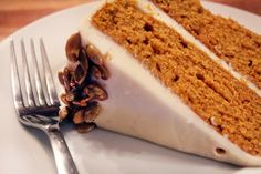 Lidey's Pumpkin Spice Cake with Cream Cheese Icing and Salted Pumpkin Seeds