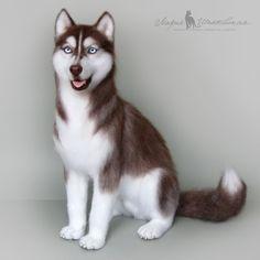 Needle felted toy dog husky / Купить Хаски. Валяная игрушка - игрушка, валяная игрушка, войлочная игрушка, зверята, подарок