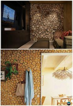 DIY Wood Log Birch Wall Panel Instructions - Raw Wood Logs and Stumps DIY Ideas Projects