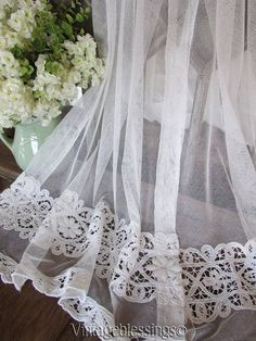 Antique Pair Beautiful Tambour Cutwork Net Lace Cafe