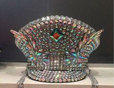 Jeweled Burning Man Hat; walking disco ball festival hat; rhinestone silver iridescent Playa perfect captain hat