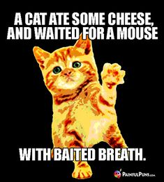 A cat ate some cheese and waited for a mouse, with baited breath.