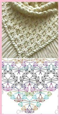 Crochet Shawl Diagram, Crochet Poncho, Crochet Chart, Crochet Scarves, Crochet Motif, Crochet Lace, Free Crochet, Crochet Doilies, Crochet Flowers
