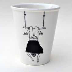 Trapeze Girl porcelain cup with handmade by helenbONETSY on Etsy Painted Mugs, Painted Plates, Pottery Painting, Ceramic Painting, Diy Becher, Diy Mugs, Cup Art, Sharpie Art, Cup Design