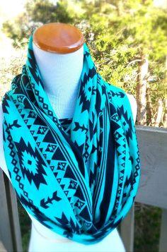 Tribal Turquiose Aztec iInfinity soft cotton knit circle scarf