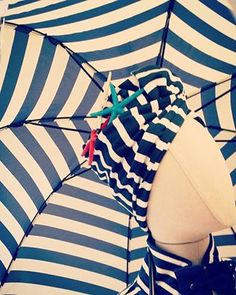 Lady Marine Stripes & Umbrella, Carla LLimona Shop Summer Decoration, Bikinis, Swimwear, Stripes, Retro, Lady, Shopping, Fashion, Bathing Suits