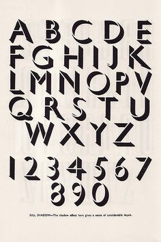 Gill Shadow by Eric Gill, 1927, shadow, type, design, vintage, retro, alphabet, lettering, poster, typography