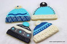 snow angel cookies | Decorated winter hat cookies - winter cap cookies